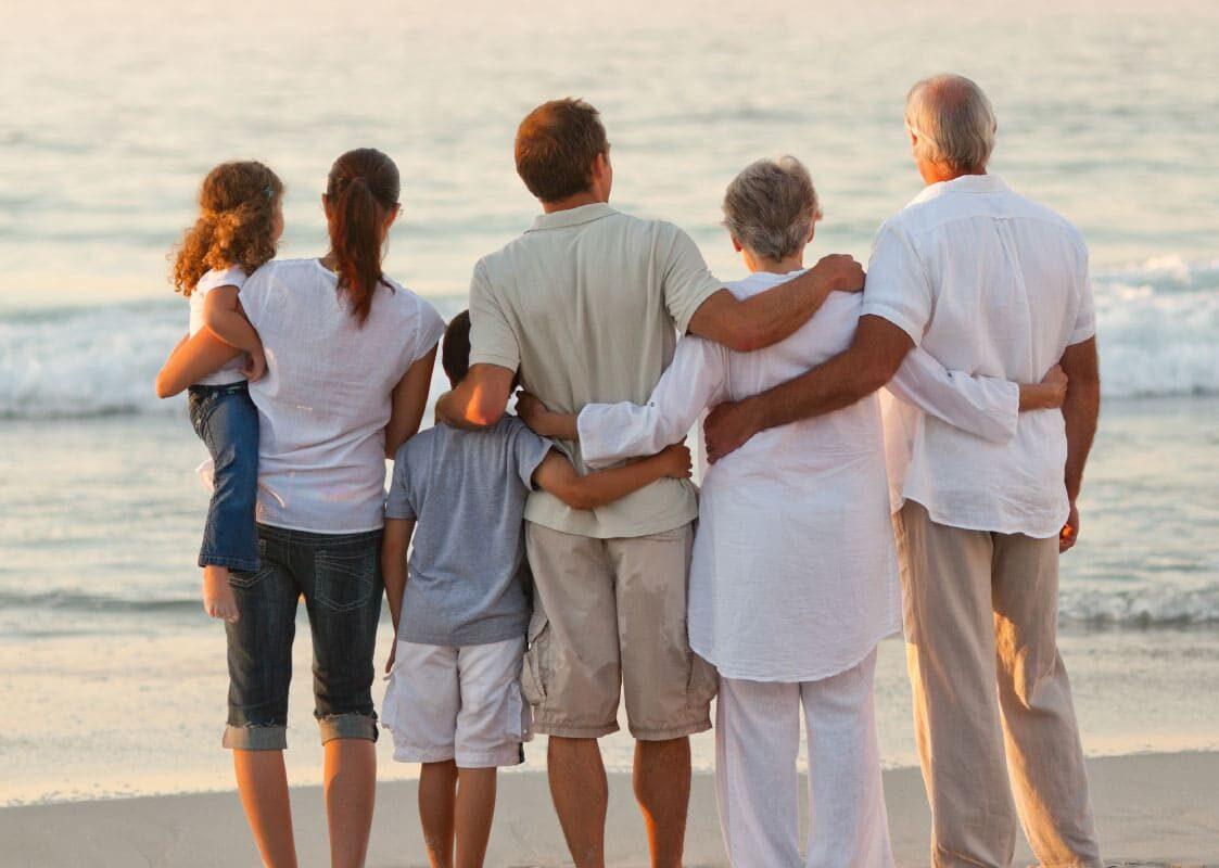 Family reunion on the beach
